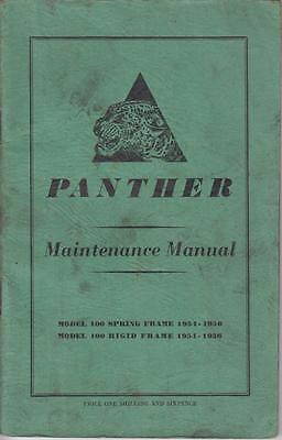 PANTHER MODEL 100 SPRING & RIGID FRAME 1954-56 ORIG. OWNERS MAINTENANCE MANUAL