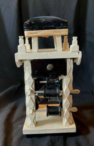 Antique Folk Wooden Tramp Art Sewing Caddy Tower Pin Cushion Drawer Spool Rack