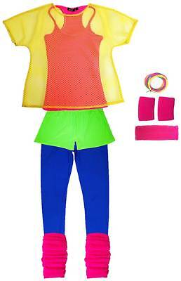 80s Neon Outfit - Fancy Dress Costume Workout Get Physical Mesh Top Accessories (80s Workout Outfit)