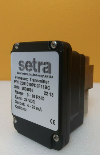 Setra 2301010PD2F11BC, 0 to 10 psdi, Low Differential Pressure Transmitter, New!