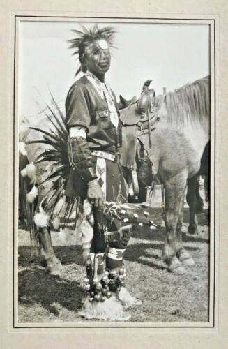 Large Silver Gelatin Art Photograph of Native American Indian at Rodeo (1930s)