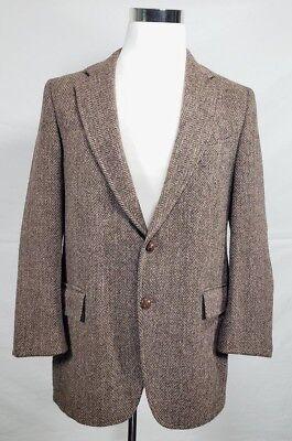 J.B. Britton Harris Tweed 44R 100% Wool Beige 2 Button Blazer Herringbone Elbow