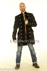 BLACK-COTTON-MENS-GOTHIC-STEAMPUNK-OUTFIT-VINTAGE-DRESS-COAT-PIRATE-TOP-SPVL
