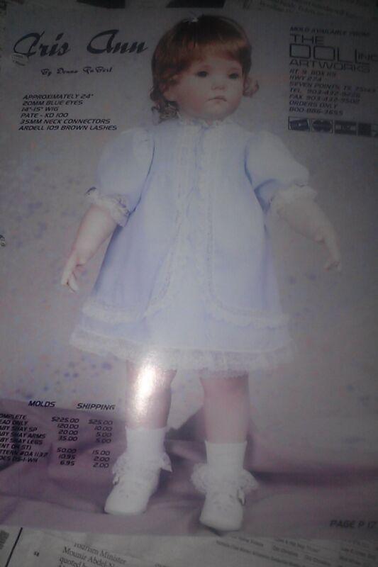 CRIS ANN DONNA RUBERT Porcelain Doll HEAD FACE PICTURE DRESS SHEET