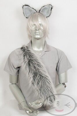 Silver/Grey Furry Wolf Tail and/or Ears Cosplay - Kostüm Wolf Tail