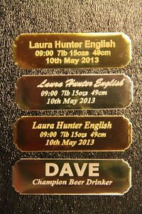 Personalised Name plate NAMEPLATE plaque engraved up to 3 lines 7x2 cm concave