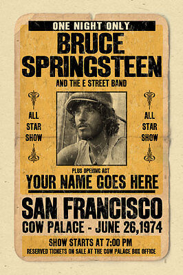 your name on a BRUCE SPRINGSTEEN concert poster! personalized gift - vintage loo