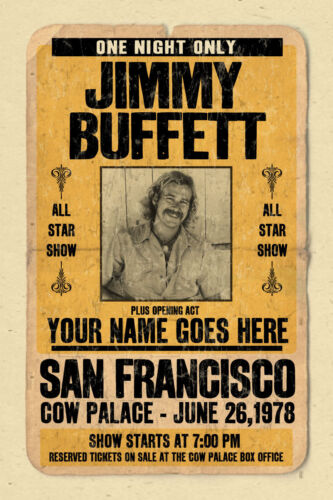 your name on a JIMMY BUFFETT concert poster! personalized gift - vintage look