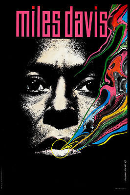 Jazz Trumpet : Miles Davis * Psychedelic * Tribute Poster  12x18