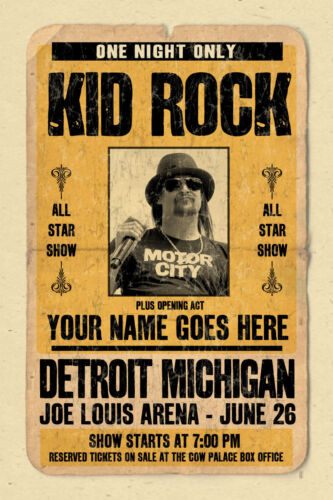 your name on a KID ROCK concert poster! personalized gift - vintage look