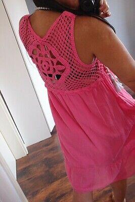 Kleid Tunika 38 M Häkel Spitze Pink Trend  Boho Hippie Sommer Neu Blogger 2019