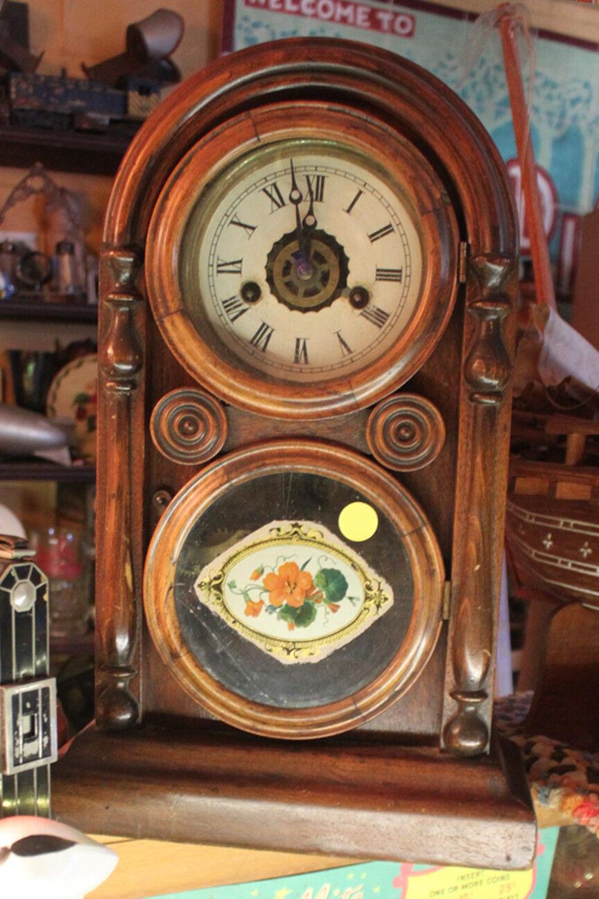 1871 VENETIAN MOSAIC FRONT WOODEN INGRAHAM FIGURE 8 MANTLE CLOCK AS IS