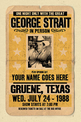 your name on a cool, personalized  concert poster with GEORGE STRAIT