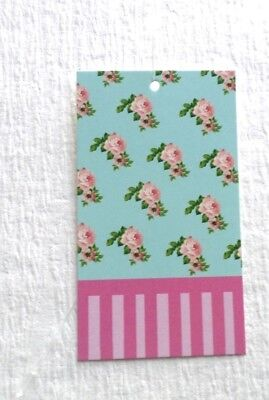 100 Price Tags Boutique Tags Hang Tags Roses And Pink Stripes W Plastic Loops