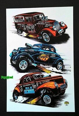 "Willys Drag Racing Art Print Poster 33 Coupe 33 Panel 41 Coupe 11"" by 17"" Garage"