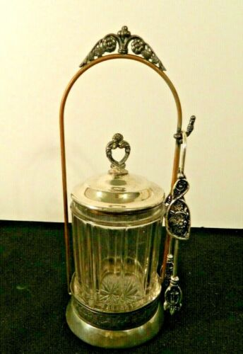 Antique Union Silver Company Plated Pickle Castor With Cut Glass Jar And Tongs