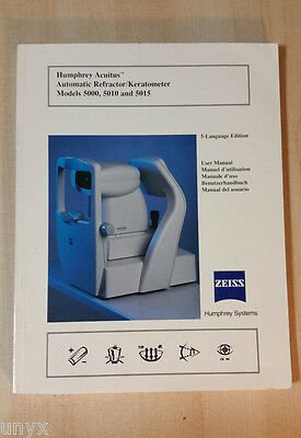 Zeiss Humphrey Acuitus 5015 Autorefractor Keratometer Manual 5 Language Paper