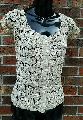1900 Victorian Blouse Crochet Pointelle Lace Mother of pearl buttons S 32 bust
