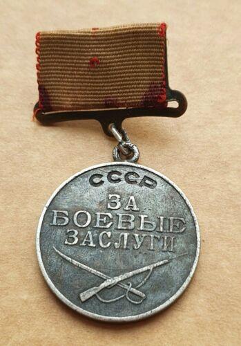 WW II SOVIET USSR MEDAL FOR MILITARY MERIT №191714 SILVER