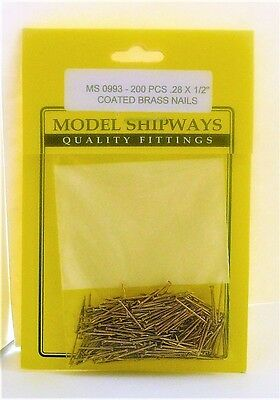 "Model Shipways Fittings MS 0993 Coated Brass Nails .028 X 1/2in"" 200 Pcs.71X12MM"