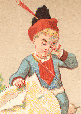Boston Ma Trade Card  S Cohen   Co At 9 Winter St  French Boy  Torn Kite  Tc2034