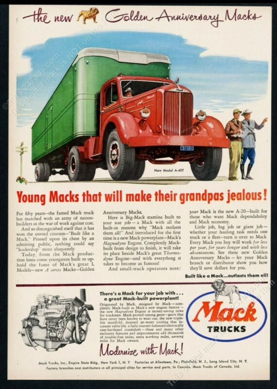 1950 Mack A-40T semi truck color art vintage print ad