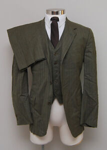 Vintage 1960s Mens 40R Slim Sterling & Hunt 3 Piece Green Herringbone Suit
