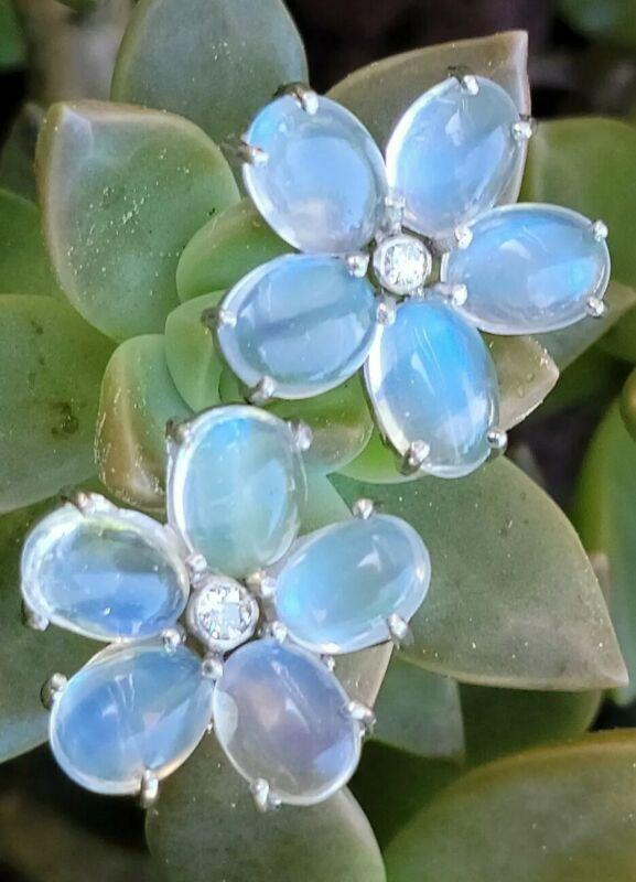 Antique Vintage Moonstone Diamond Palladium Flower Earrings-Estate Jewelry 6 g