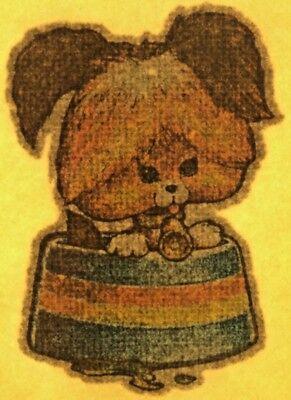 Original Vintage Dog In Bowl Mini Iron On Transfer Glitter