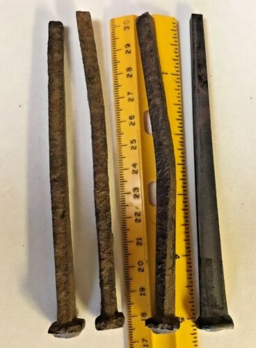 5 inches long - 4 Antique Square Nails