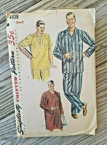 VINTAGE SIMPLICITY SEWING PATTERN  #4108 ~MENS PAJAMAS & NIGHTSHIRT ~ SIZE SMALL
