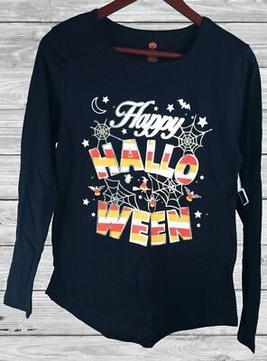 Women's Happy Halloween Black Candy Corn L/S - Happy Halloween Candy