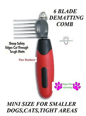 PAW BROTHERS SMALL Dog Cat Pet MINI DEMATTING COMB Mat Breaker  MatBreaker Rake
