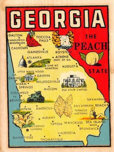 Georgia Peach State Illustrated Map Vintage Transfer Sticker L05