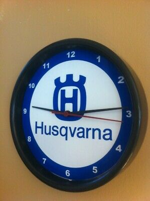 Husqvarna Motorcycle Garage Man Cave Advertising Black Wall Clock Sign