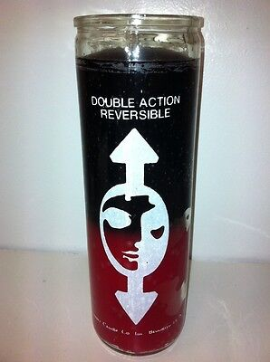 - REVERSIBLE 7 DAY 2 COLOR (BLACK & RED) UNSCENTED CANDLE IN GLASS