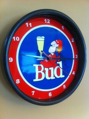 Budweiser Bud Man Beer Bar Advertising Man Cave Wall Clock Sign