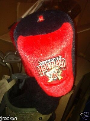 Terps UM NCAA UNIVERSITY OF MARYLAND TERRAPINS GOLF CLUB PLUSH COVER RED LOGO -