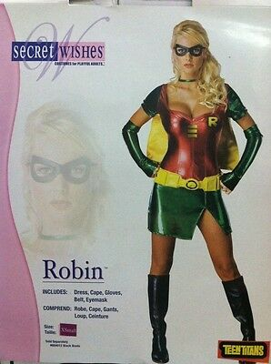 ROBIN FEMALE ADULT COSTUME SIZE EXTRA SMALL SECRET WISHES TEEN TITANS - Batman Costume Female