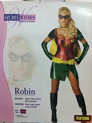 ROBIN FEMALE ADULT COSTUME SIZE EXTRA SMALL SECRET WISHES TEEN TITANS BATMAN (Female Batman)