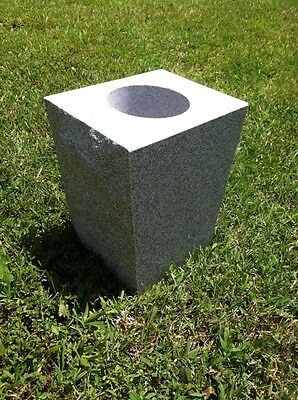 Granite Cemetery Vase Gray Tapered (8x6