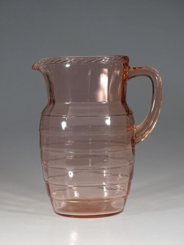 Deco Depression Glass Hocking Glass Pink Block Optic Water Pitcher c.1930