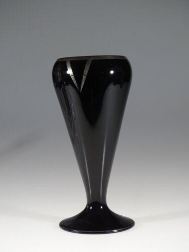 Vintage Deco Beaumont Glass Works Black Glass Vase Silver Overlay c.1925