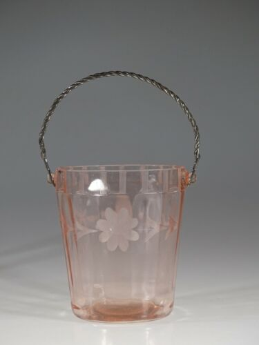 Vintage Deco Hocking Glass Company Pink Ice Bucket with Twisted Bale c.1935