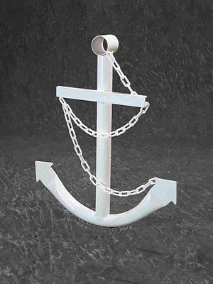 White Anchor Wall Yard Art Decor 2' Metal Outdoor Nautical Decorative USA New ()