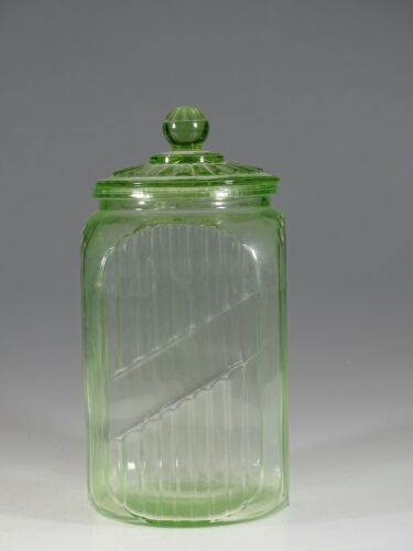 Vintage Hocking Glass Company Ribbed Large Green Kitchen Canister #3 c.1930