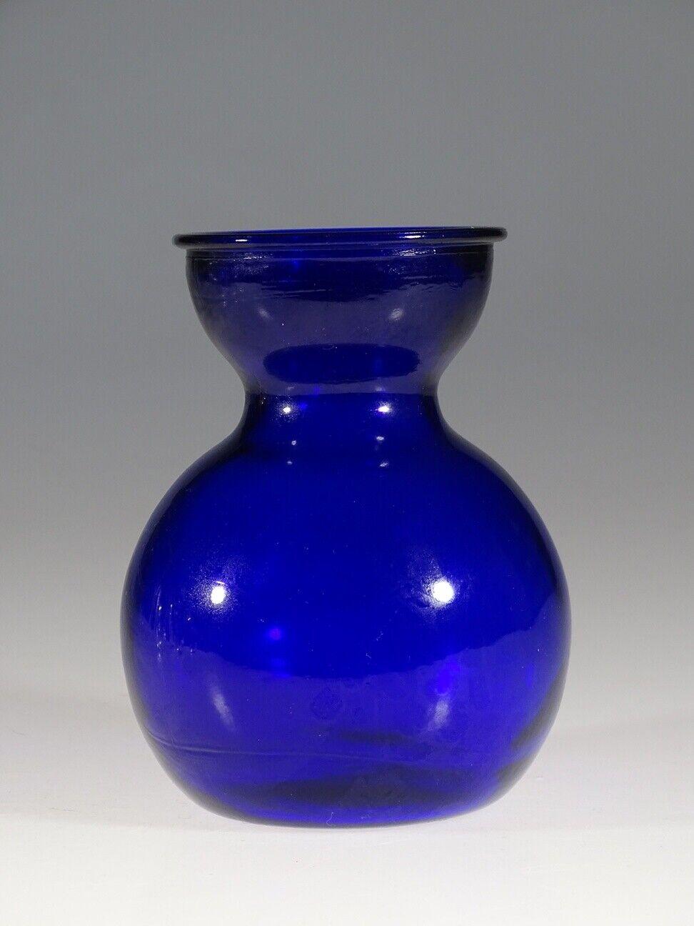 Vintage Dutch or German Rich Cobalt Blue Glass Bulb Forcing Vase c.1975
