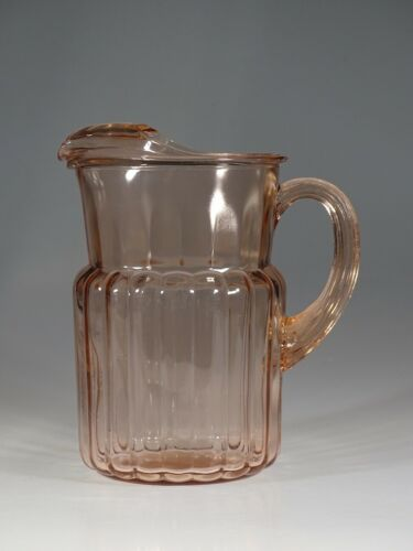 Deco Depression Glass Hocking Glass Pink Ribbed Water Pitcher c.1930