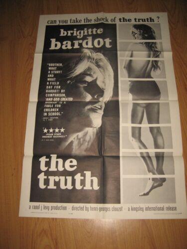 LA VERITE aka The TRUTH Brigitte Bardot 1962 Original 1sh Movie Poster