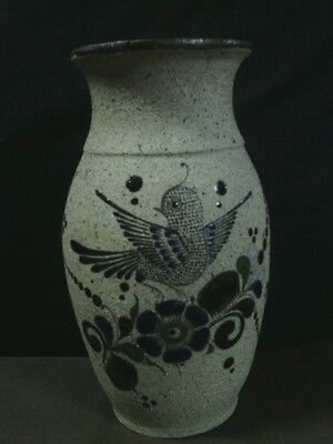 Vtg. Tonala Art Pottery Sandstone Hand Painted Bird/Floral Vase,Mexico